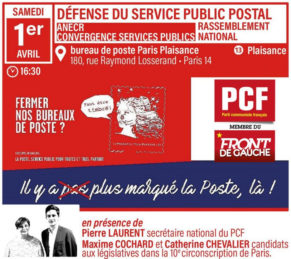 Pour défendre nos bureaux de poste et un service public de qualité Participez au rassemblement le 1er avril à 16h30