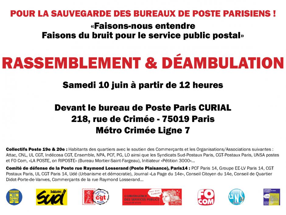 Pour la sauvegarde des bureaux de poste parisiens!