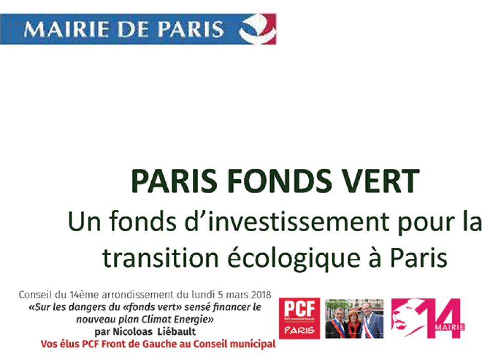 Sur les dangers du «fonds vert» sensé financer le nouveau plan Climat Energie