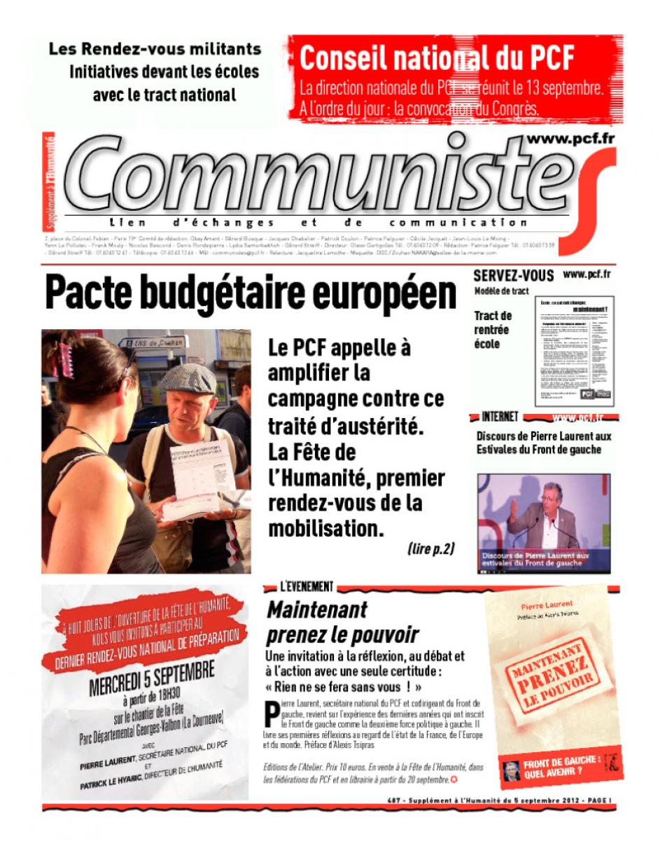 Journal CommunisteS n°487 - 5 septembre 2012