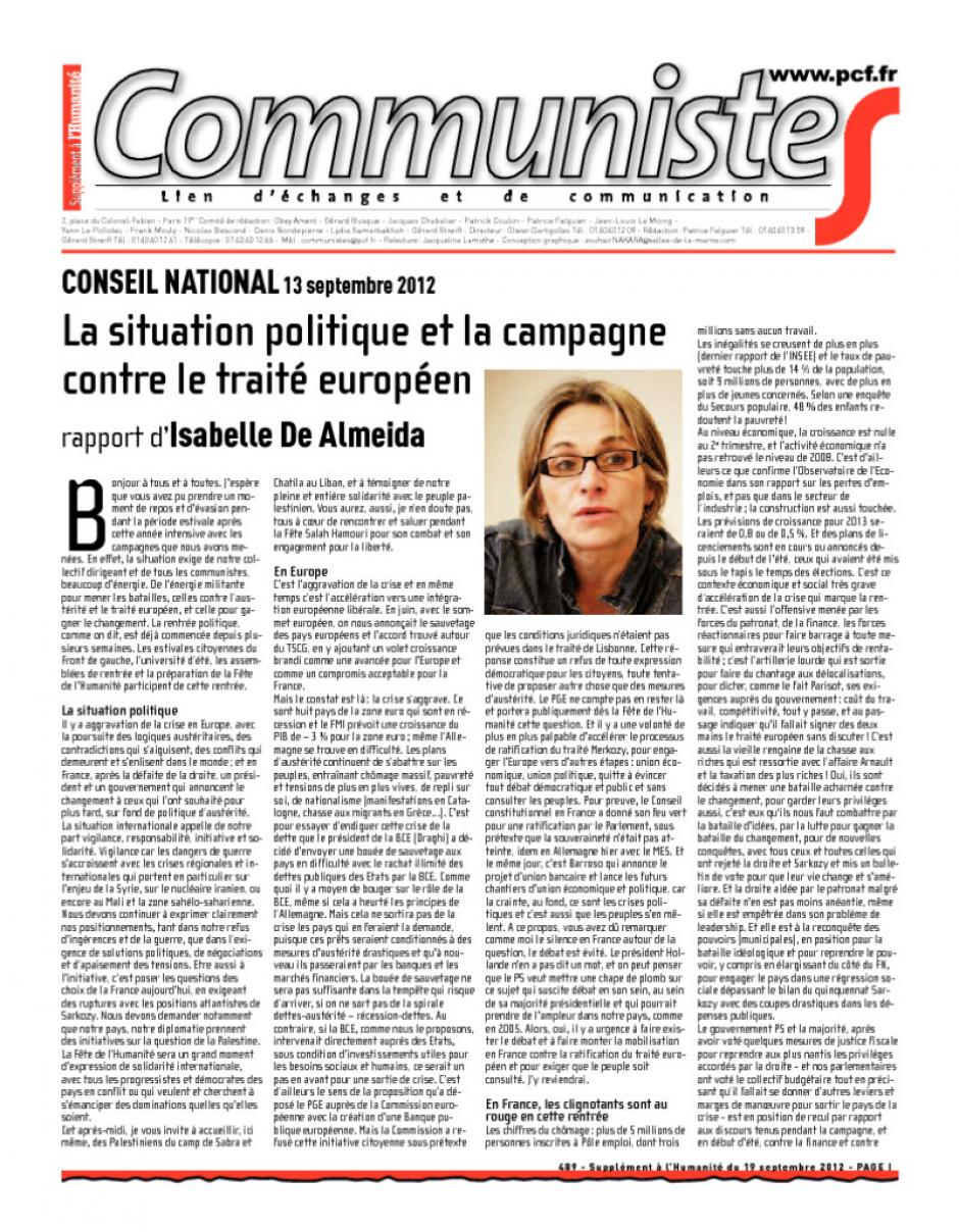Journal CommunisteS n°489 - 19 septembre 2012 - Rapports du CN du 13 septembre