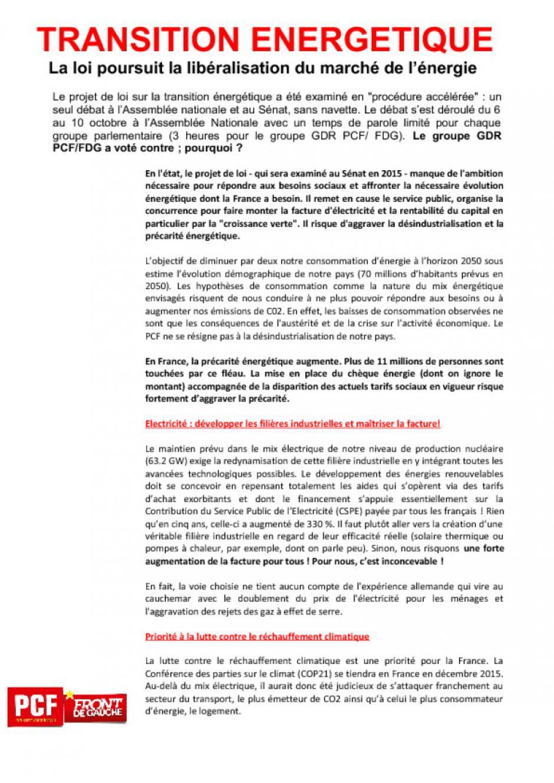 TRANSITION ENERGETIQUE : la loi poursuit la libéralisation du marché de l'énergie!
