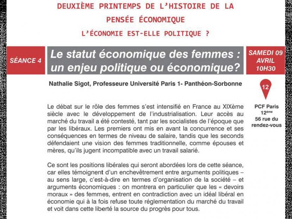 Le statut économique des femmes: un enjeu politique ou économique?