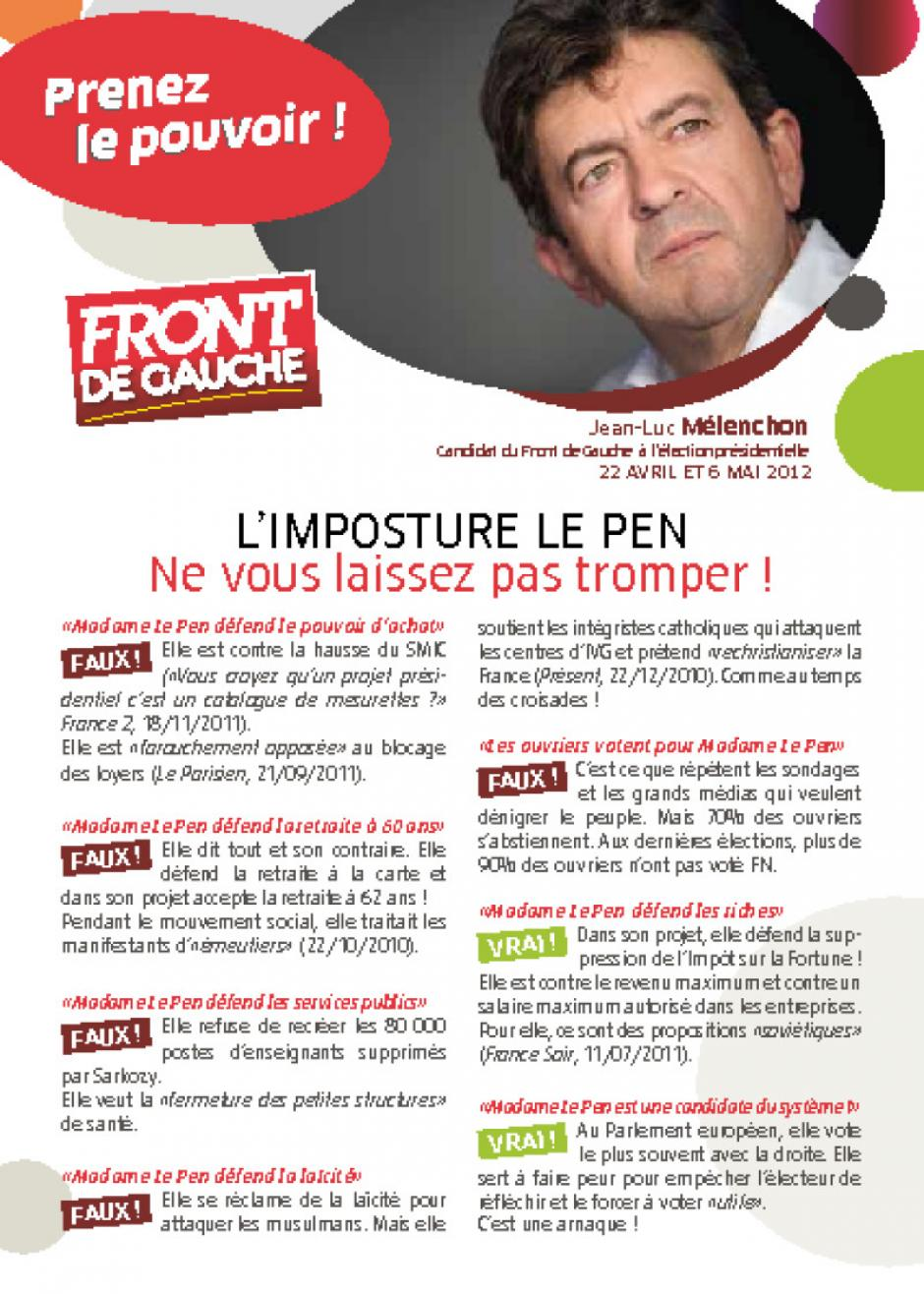 Tract national sur l'imposture Le Pen