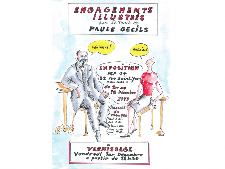 Vernissage de l'exposition Engagements illustrés par le trait de Paule Gecils