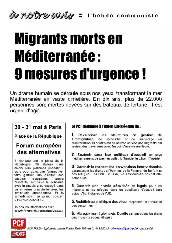 Migrants morts en Méditerranée : 9 mesures d'urgence !