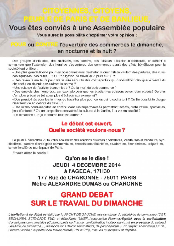 4 décembre : GRAND DEBAT SUR LE TRAVAIL DU DIMANCHE