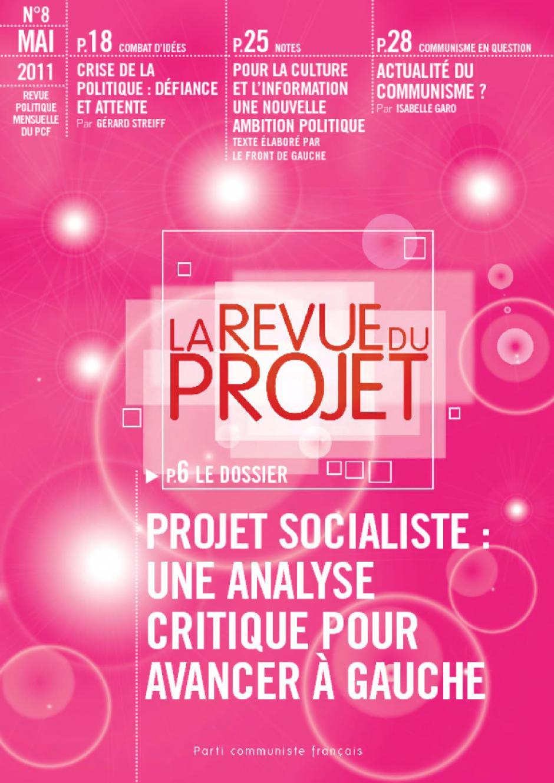 N ° 8, Projet socialiste : une analye critique pour avancer à gauche, mai 2011