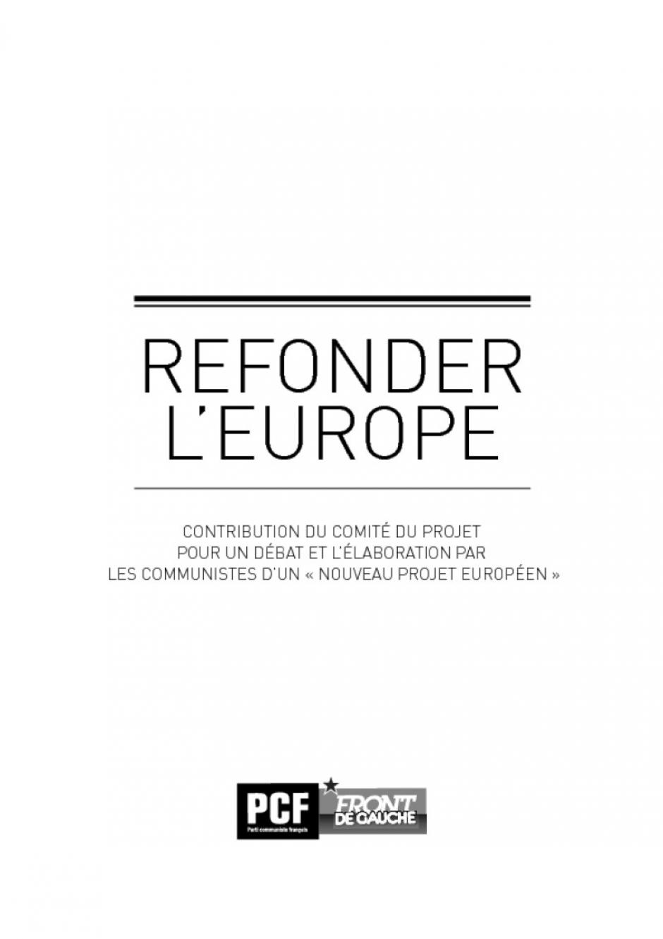 Refonder l'Europe - Préparation de la convention nationale du 16 novembre