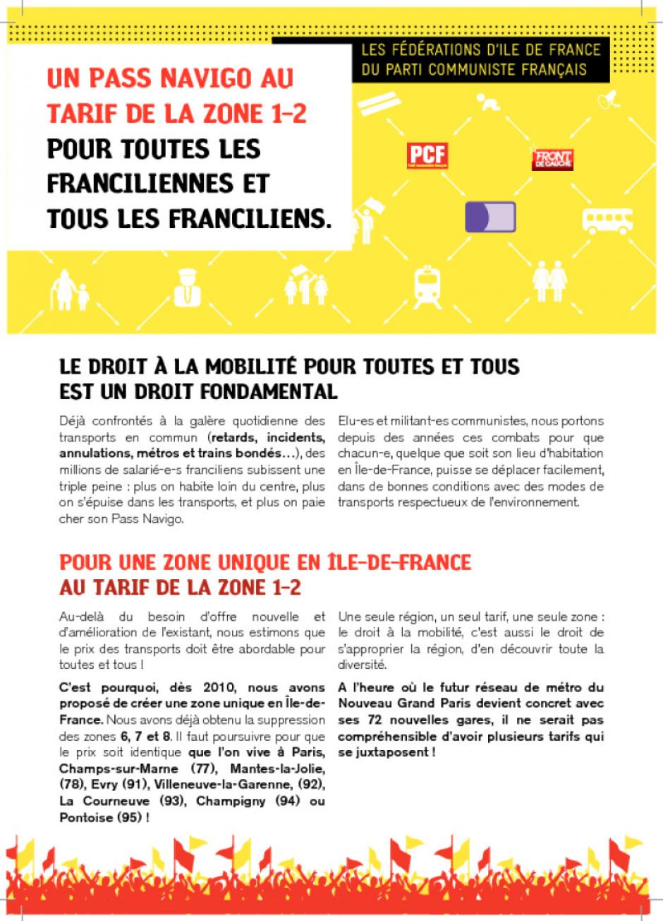 UN PASS NAVIGO AU TARIF DE LA ZONE 1-2 POUR TOUTES LES FRANCILIENNES ET TOUS LES FRANCILIENS.