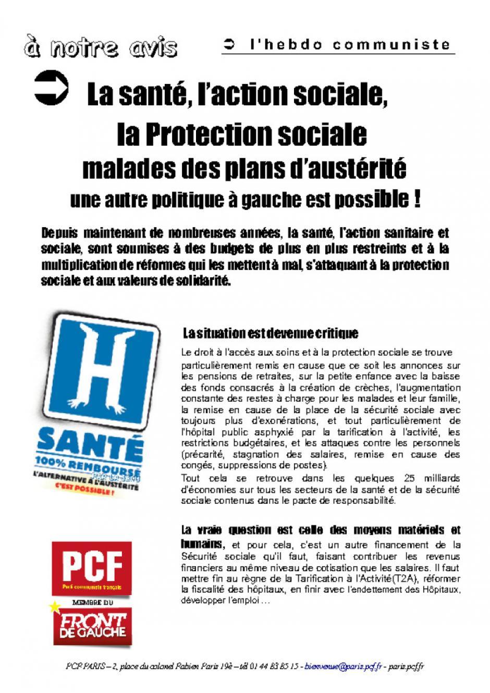 L a santé, l'action sociale, la Protection sociale malades des plans d'austérité !